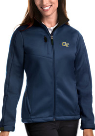 GA Tech Yellow Jackets Womens Antigua Traverse Medium Weight Jacket - Navy Blue