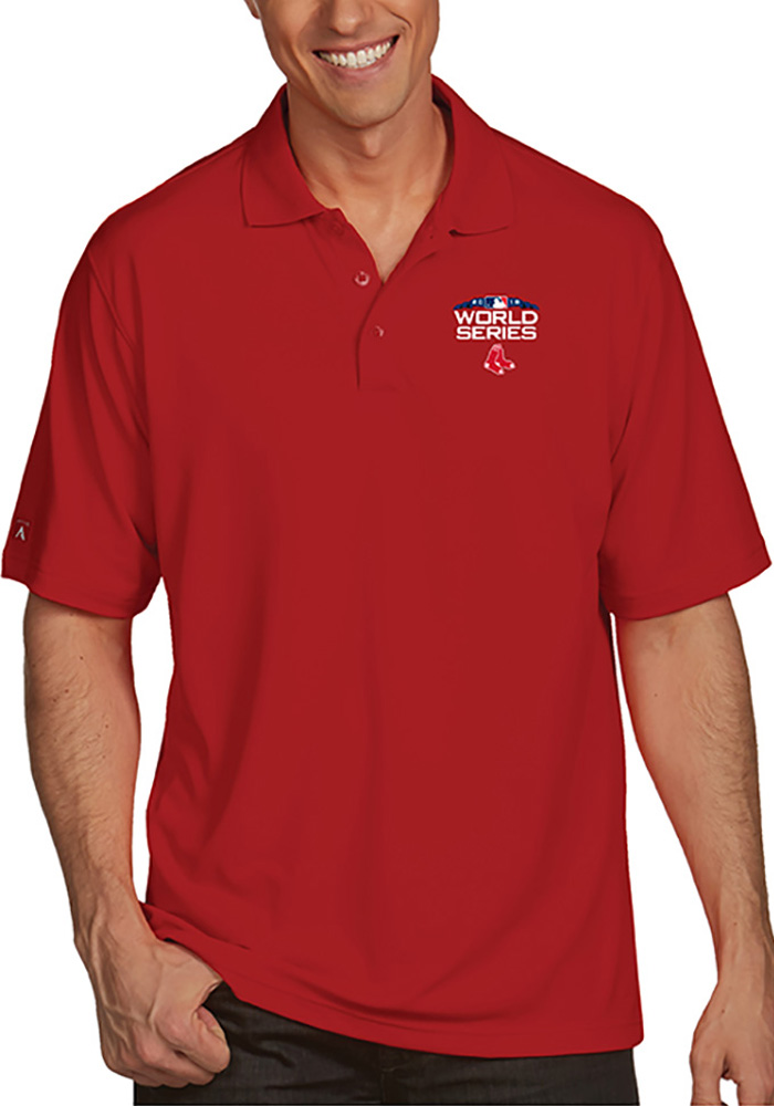 Antigua Boston Red Sox Mens Red 2018 World Series Pique Short Sleeve Polo - Image 1