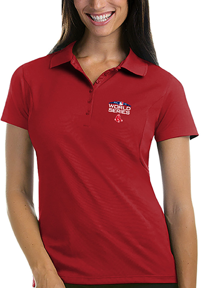 Antigua Boston Red Sox Womens Red 2018 World Series Pique Short Sleeve Polo Shirt - Image 1