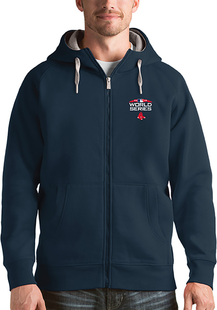Antigua Boston Red Sox Mens Navy Blue 2018 World Series Victory Long Sleeve Full Zip Jacket - Image 1