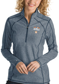 Antigua Houston Astros Womens 2018 World Series Tempo Navy Blue 1/4 Zip Pullover