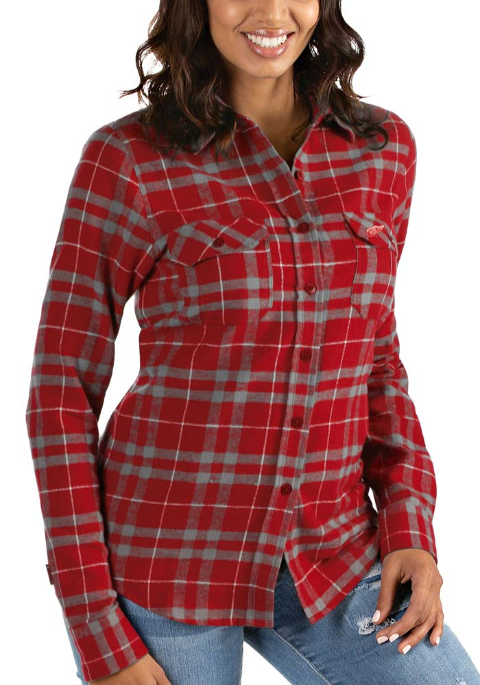 Antigua Detroit Red Wings Womens Stance Long Sleeve Red Dress Shirt - Image 1