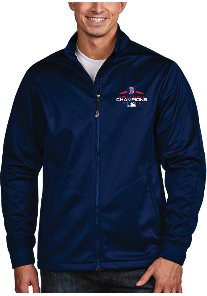 Antigua Boston Red Sox Mens Navy Blue 2018 World Series Champions Golf Light Weight Jacket - Image 1