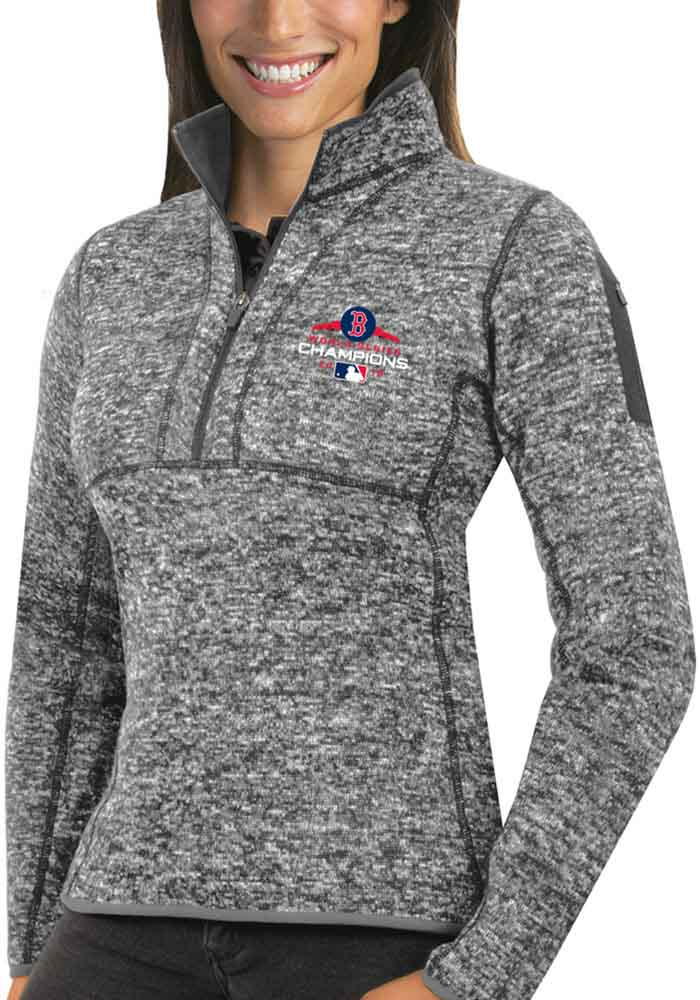 Antigua Boston Red Sox Womens Grey 2018 World Series Champions Fortune 1/4 Zip Pullover - Image 1