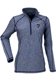 Antigua Sporting Kansas City Womens Tempo Navy Blue 1/4 Zip Pullover