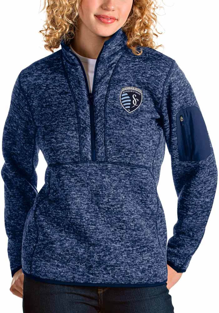 Antigua Sporting Kansas City Womens Navy Blue Fortune 1/4 Zip Pullover - Image 1