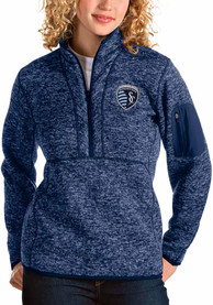 Sporting Kansas City Womens Antigua Fortune 1/4 Zip Pullover - Navy Blue