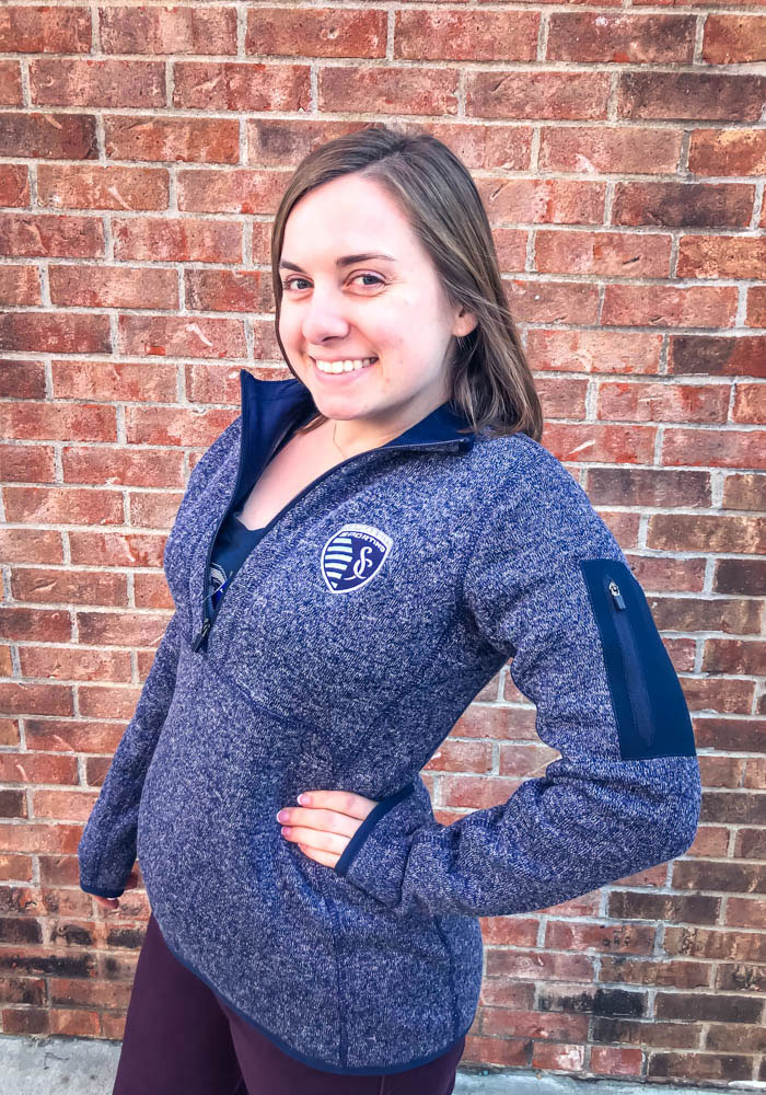 Antigua Sporting Kansas City Womens Navy Blue Fortune 1/4 Zip Pullover - Image 2