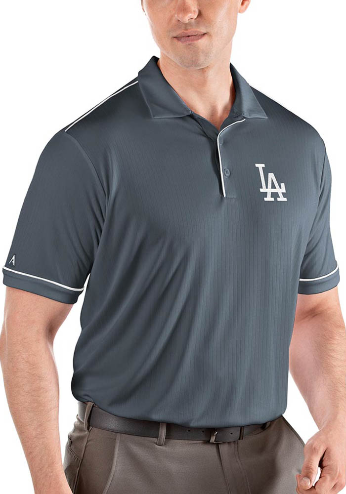 Antigua Los Angeles Dodgers Mens Grey Salute Short Sleeve Polo - Image 1