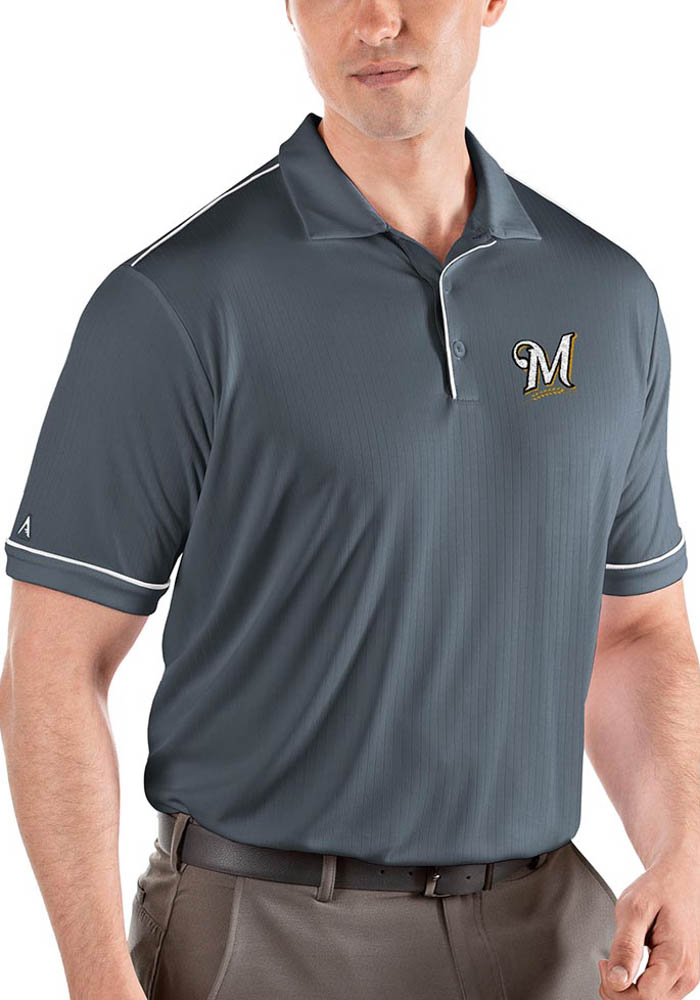 Antigua Milwaukee Brewers Mens Grey Salute Short Sleeve Polo - Image 1