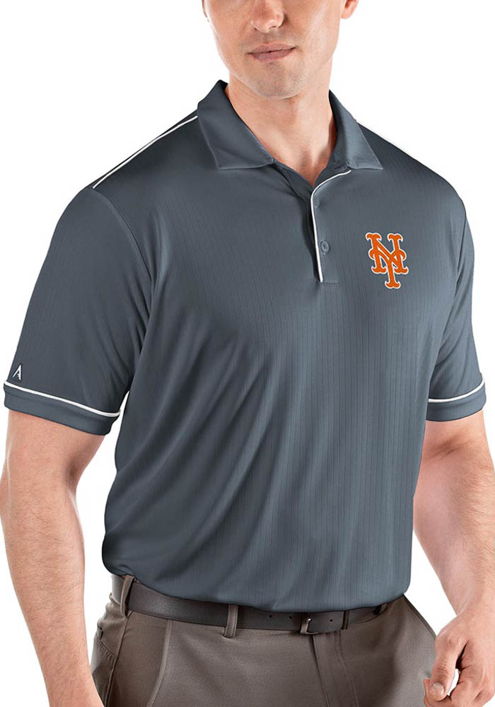 Antigua New York Mets Mens Grey Salute Short Sleeve Polo - Image 1