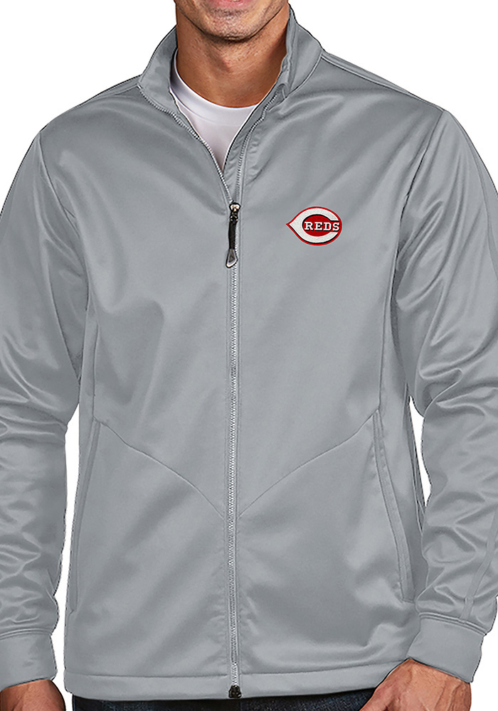 Antigua Cincinnati Reds Mens Silver Golf Medium Weight Jacket - Image 1