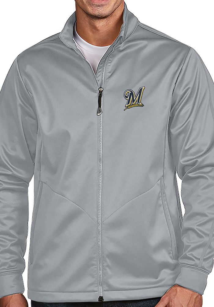 Antigua Milwaukee Brewers Mens Silver Golf Light Weight Jacket - Image 1