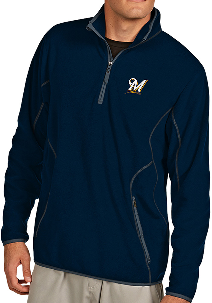 Antigua Milwaukee Brewers Mens Navy Blue Ice Long Sleeve 1/4 Zip Pullover - Image 1