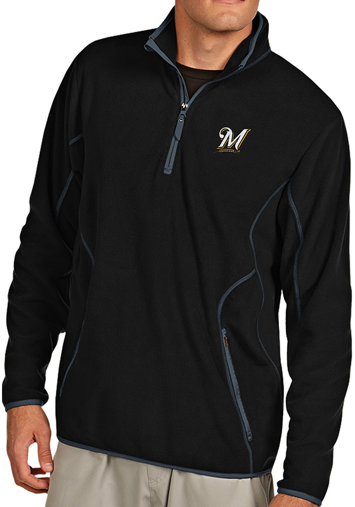 Antigua Milwaukee Brewers Mens Black Ice Long Sleeve 1/4 Zip Pullover - Image 1