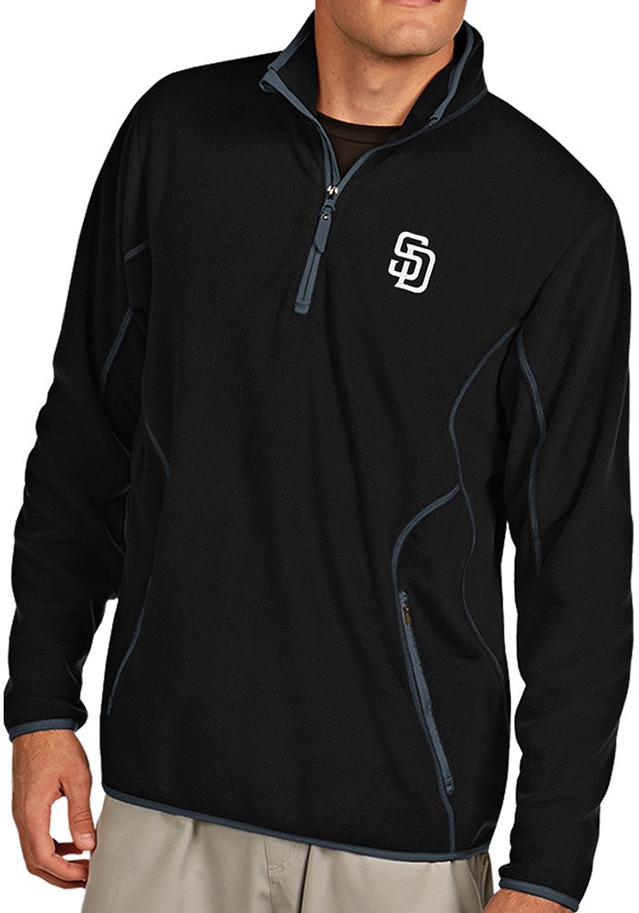 Antigua San Diego Padres Mens Black Ice Long Sleeve 1/4 Zip Pullover - Image 1