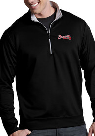 Atlanta Braves Antigua Leader 1/4 Zip Pullover - Black