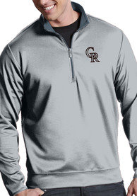 Colorado Rockies Antigua Leader 1/4 Zip Pullover - Silver