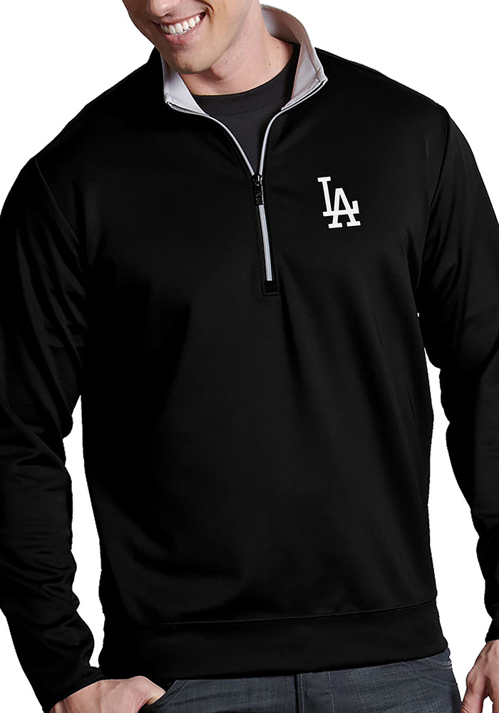 Antigua Los Angeles Dodgers Mens Black Leader Long Sleeve 1/4 Zip Pullover - Image 1