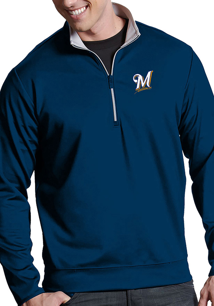 Antigua Milwaukee Brewers Mens Navy Blue Leader Long Sleeve 1/4 Zip Pullover - Image 1