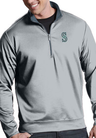 Seattle Mariners Antigua Leader 1/4 Zip Pullover - Silver