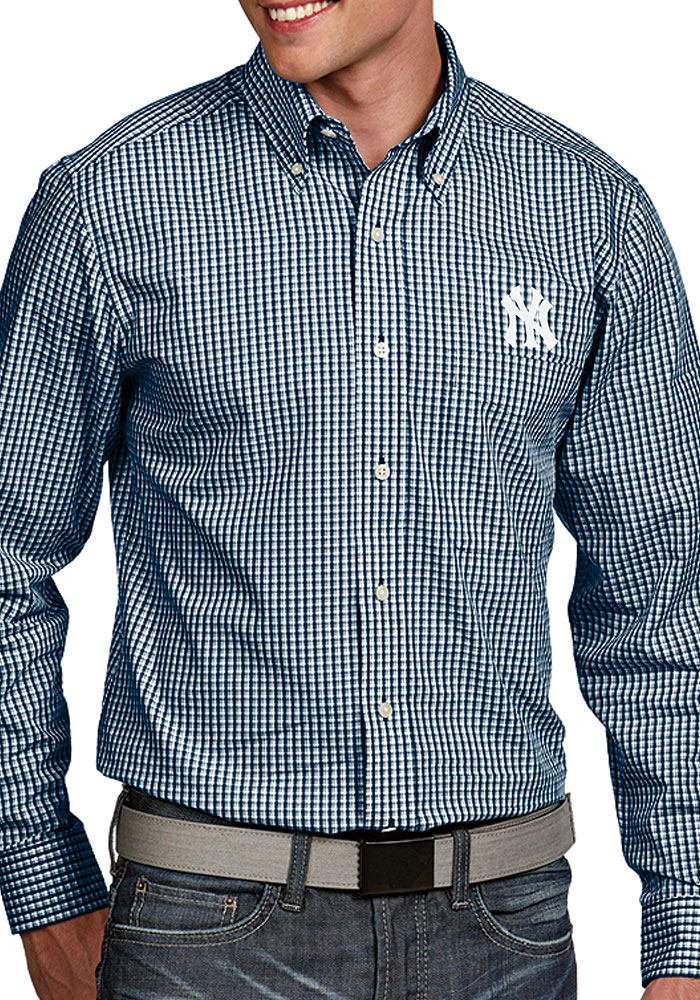 4ce9c70b2 Antigua New York Yankees Mens Navy Blue Associate Long Sleeve Dress Shirt -  Image 1