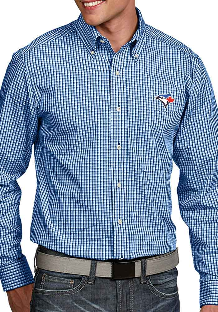 Antigua Toronto Blue Jays Mens Blue Associate Long Sleeve Dress Shirt - Image 1