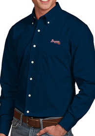 Atlanta Braves Antigua Dynasty Dress Shirt - Navy Blue