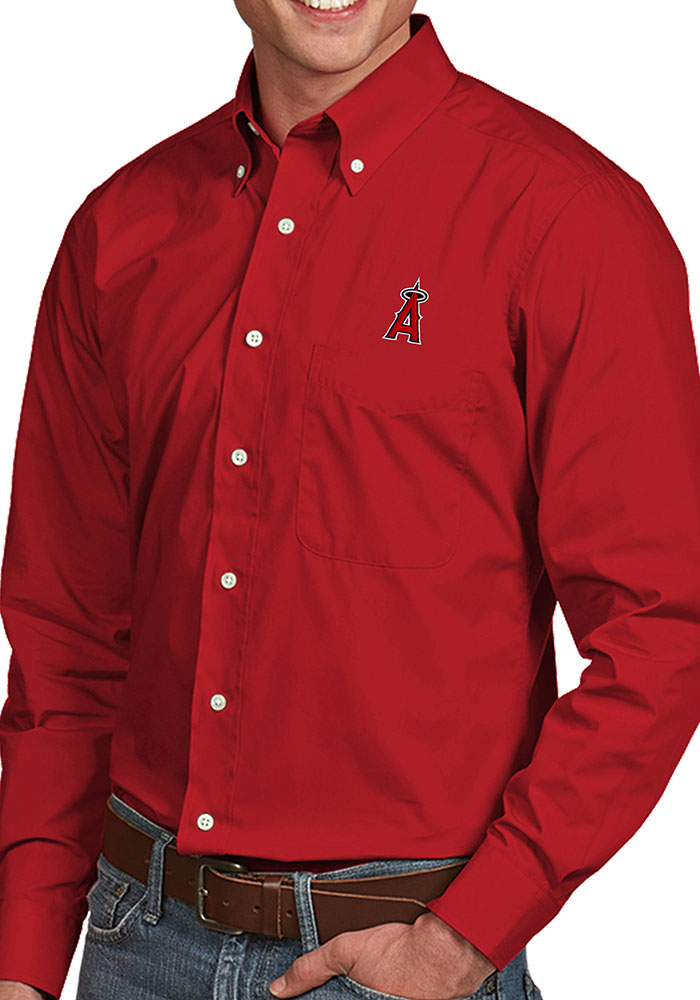 Los Angeles Angels Mens Red Dynasty Long Sleeve Dress Shirt - Image 1