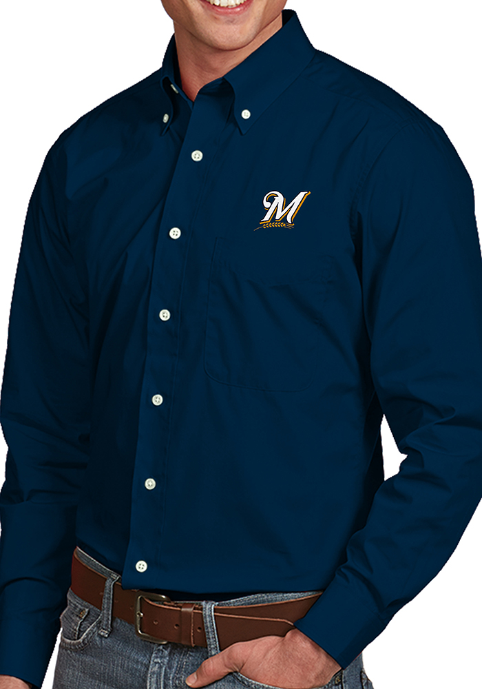 Antigua Milwaukee Brewers Mens Navy Blue Dynasty Long Sleeve Dress Shirt - Image 1