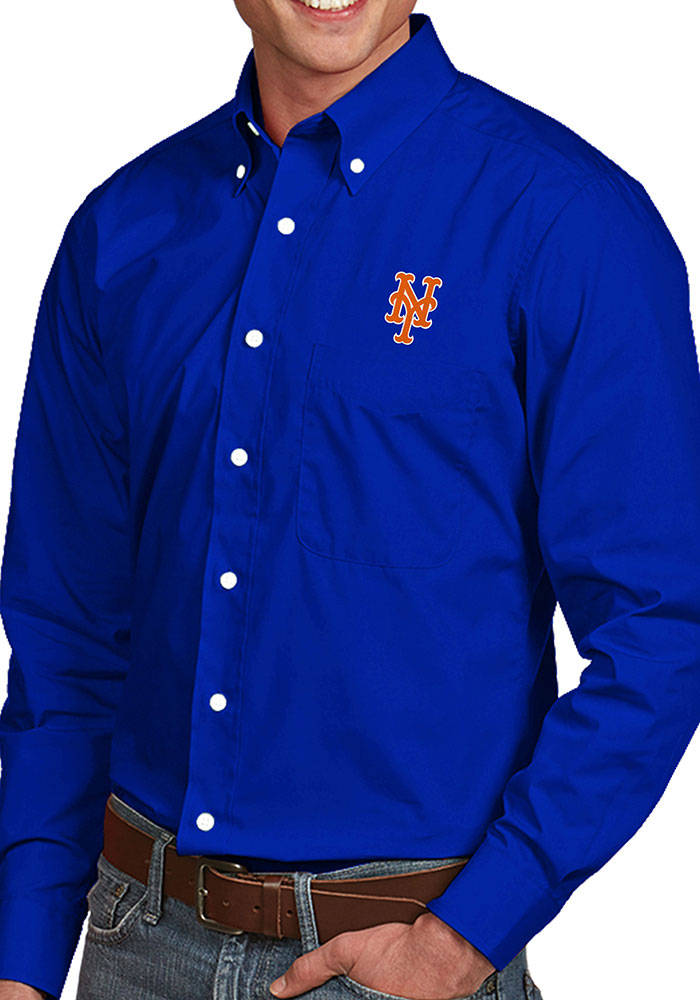 Antigua New York Mets Mens Blue Dynasty Long Sleeve Dress Shirt - Image 1