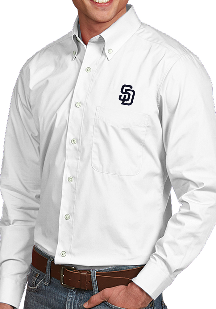 Antigua San Diego Padres Mens White Dynasty Long Sleeve Dress Shirt - Image 1