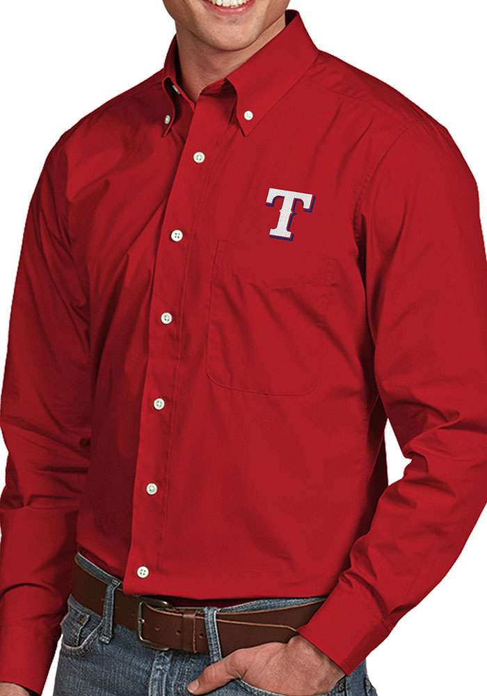 Antigua Texas Rangers Mens Red Dynasty Long Sleeve Dress Shirt - Image 1