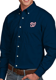 Washington Nationals Antigua Dynasty Dress Shirt - Navy Blue