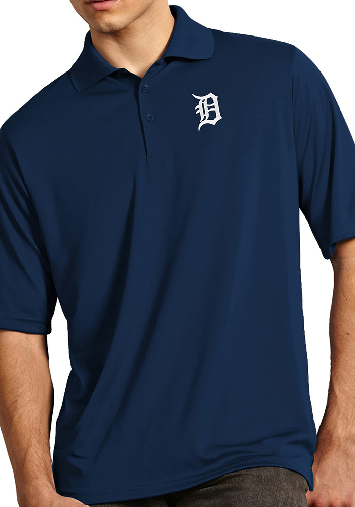 Antigua Detroit Tigers Mens Navy Blue Exceed Short Sleeve Polo - Image 1