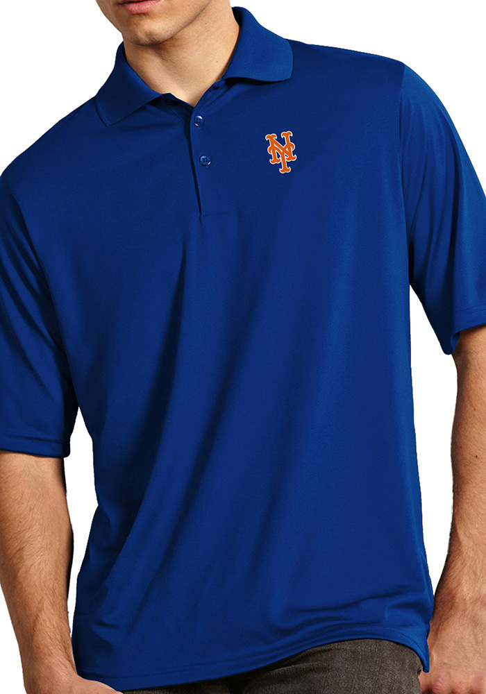 Antigua New York Mets Mens Blue Exceed Short Sleeve Polo - Image 1
