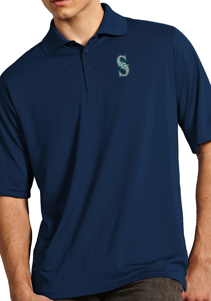 Antigua Seattle Mariners Mens Navy Blue Exceed Short Sleeve Polo - Image 1 a995fbfc8