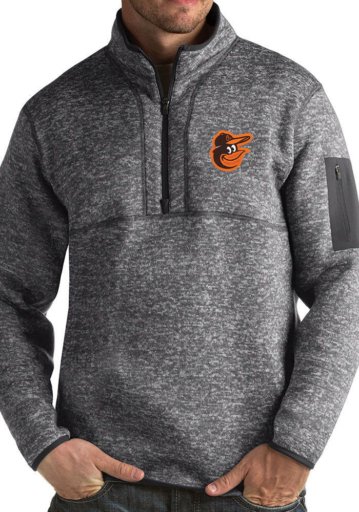 Antigua Baltimore Orioles Mens Grey Fortune Long Sleeve 1/4 Zip Fashion Pullover - Image 1