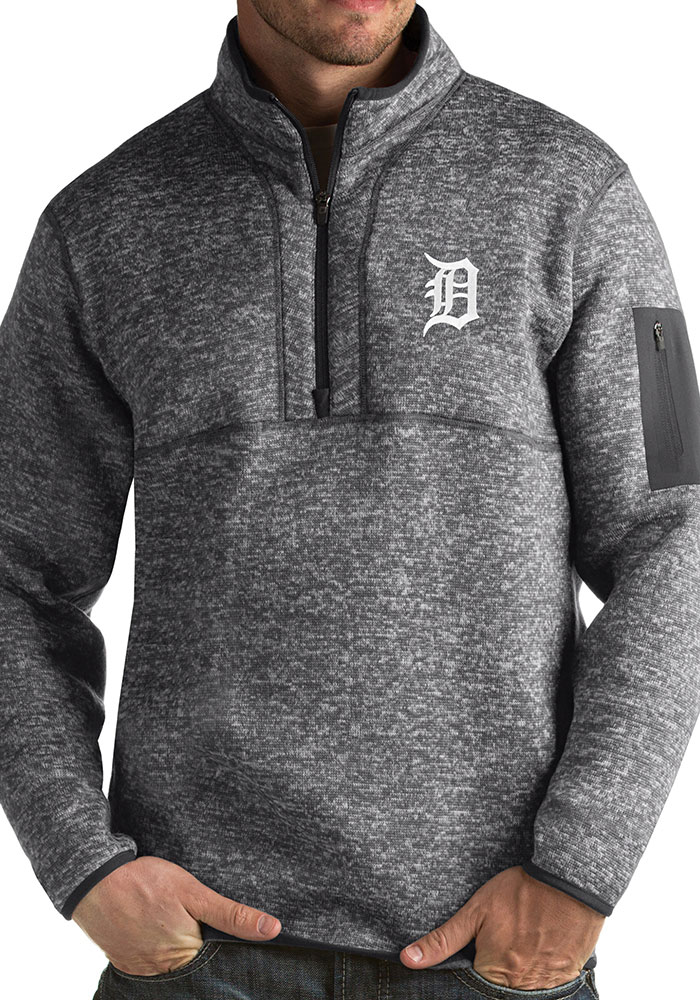 Antigua Detroit Tigers Mens Grey Fortune Long Sleeve 1/4 Zip Fashion Pullover - Image 1