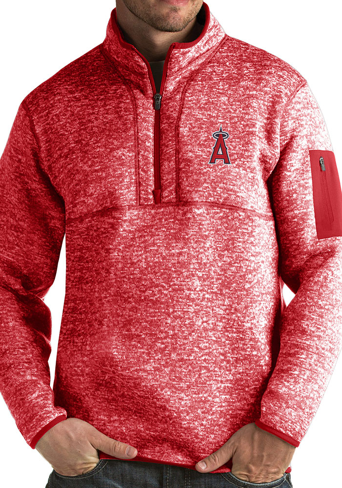 Antigua Los Angeles Angels Mens Red Fortune Long Sleeve 1/4 Zip Fashion Pullover - Image 1
