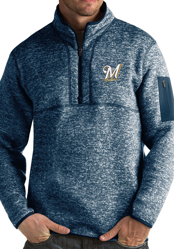 Antigua Milwaukee Brewers Mens Navy Blue Fortune Long Sleeve 1/4 Zip Fashion Pullover - Image 1