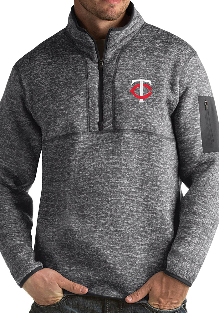 size 40 ae237 b9d96 Minnesota Twins Mens Grey Fortune Long Sleeve 1/4 Zip Fashion Pullover