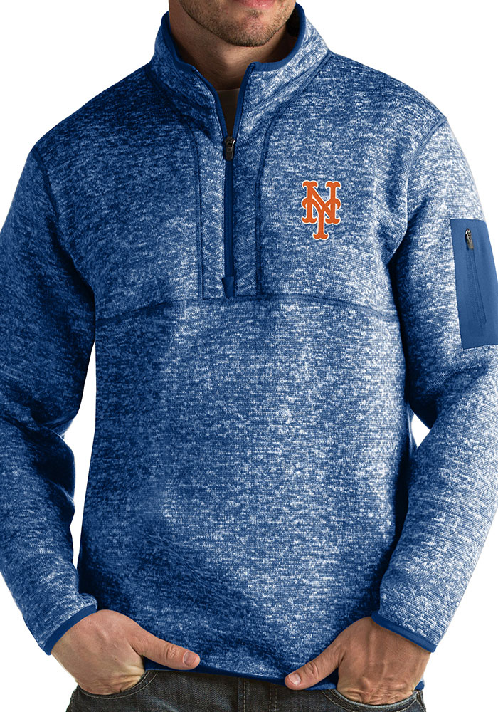 Antigua New York Mets Mens Blue Fortune Long Sleeve 1/4 Zip Fashion Pullover - Image 1