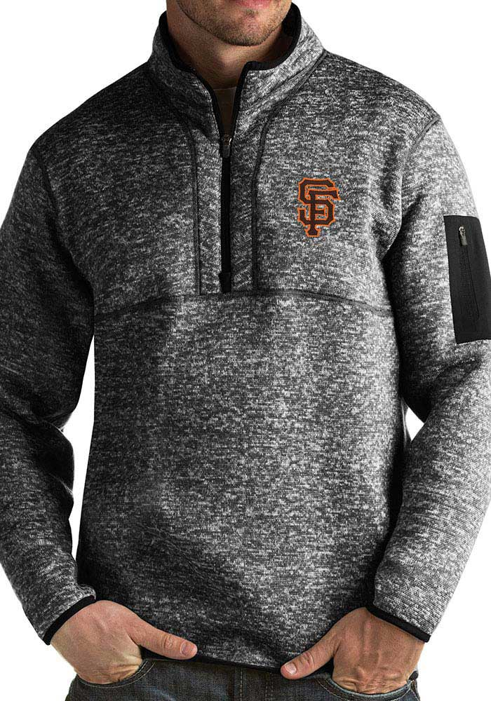 Antigua San Francisco Giants Mens Black Fortune Long Sleeve 1/4 Zip Fashion Pullover - Image 1