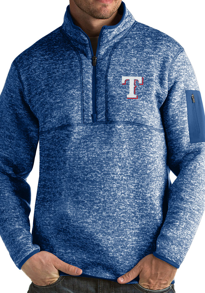 Antigua Texas Rangers Mens Blue Fortune Long Sleeve 1/4 Zip Fashion Pullover - Image 1