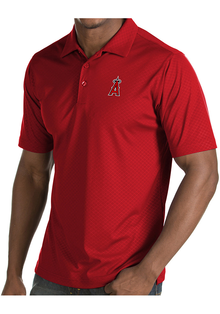 Antigua Los Angeles Angels Mens Red Inspire Short Sleeve Polo - Image 1