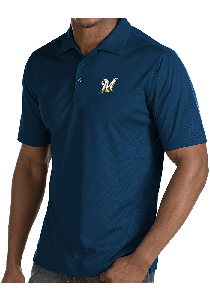 Antigua Milwaukee Brewers Mens Navy Blue Inspire Short Sleeve Polo - Image 1