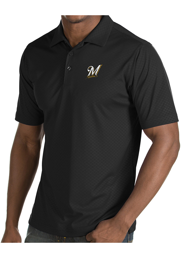 Antigua Milwaukee Brewers Mens Grey Inspire Short Sleeve Polo - Image 1