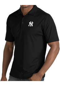Antigua New York Yankees Black Inspire Short Sleeve Polo Shirt