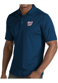 Antigua Washington Nationals Navy Blue Inspire Short Sleeve Polo Shirt